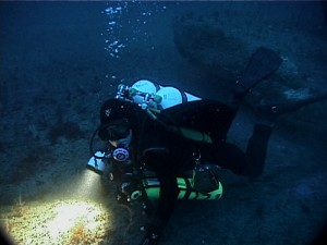 Shooting video while mixed-gas diving on a wreck 80m down off the east coast of Australia