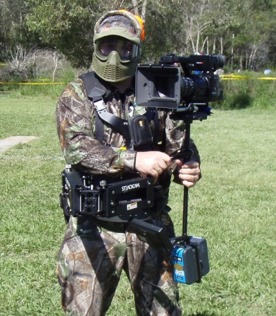 We pride ourselves on having the right equipment for every job. Here, Shaun is set up to shoot a colonoscopy